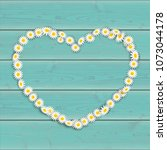 daisy flowers heart on the... | Shutterstock .eps vector #1073044178
