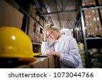 young beautiful female worker... | Shutterstock . vector #1073044766