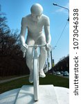 Small photo of Kharkiv, Ukraine - April 20, 2018: Monument to a bicyclist by Alexander Ridnyi, installed in 2012 on the place where bike rider has died in a fatal road accident.