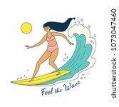 feel the wave. vector... | Shutterstock .eps vector #1073047460