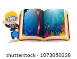 vector illustration of ocean...   Shutterstock .eps vector #1073050238