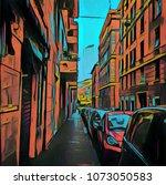 vintage italian street view.... | Shutterstock . vector #1073050583