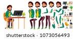 office worker vector. face... | Shutterstock .eps vector #1073056493