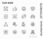 teamwork thin line icons set ... | Shutterstock .eps vector #1073058578