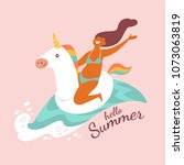 hello summer. vector... | Shutterstock .eps vector #1073063819