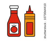 ketchup and mustard color icon. ... | Shutterstock . vector #1073064410