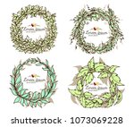 beautiful elements frame vector.... | Shutterstock .eps vector #1073069228