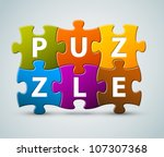 vector colorful puzzle... | Shutterstock .eps vector #107307368