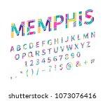pop art memphis style font for... | Shutterstock .eps vector #1073076416