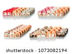 the sets of rolls of sushi... | Shutterstock . vector #1073082194