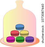 macarons in glass  vector... | Shutterstock .eps vector #1073087660