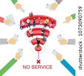 people in wi fi zone. public wi ... | Shutterstock .eps vector #1073090759