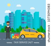 machine yellow cab with driver...   Shutterstock .eps vector #1073094383