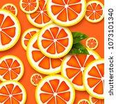 grapefruit background. sliced...   Shutterstock .eps vector #1073101340