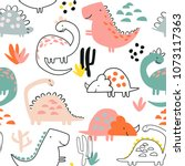 seamless dino pattern  print... | Shutterstock .eps vector #1073117363