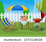 bbq party. sun lounger  grill... | Shutterstock .eps vector #1073118428