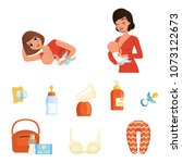 two young moms and items... | Shutterstock .eps vector #1073122673