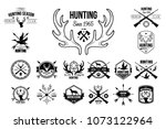Stock vector vector set of vintage emblems for hunting club original monochrome labels with silhouettes of dogs 1073122964