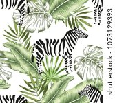 zebra animals and green banana  ... | Shutterstock .eps vector #1073129393
