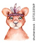 cute wild boho animal. lion... | Shutterstock . vector #1073133569