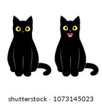 Stock vector realistic cartoon black cat sitting and meowing cute cat saying feed me 1073145023