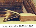old vintage antique books with... | Shutterstock . vector #1073161100