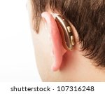 hearing aid on the man's ear... | Shutterstock . vector #107316248