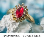 ruby ring in gold setting with... | Shutterstock . vector #1073164316