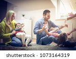 happy family spending time at... | Shutterstock . vector #1073164319