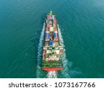 container ship in export and... | Shutterstock . vector #1073167766