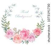 watercolor flower background...   Shutterstock .eps vector #1073191730