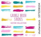 grunge paint brush stroke... | Shutterstock .eps vector #1073208104