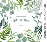 greenery floral card. frame... | Shutterstock .eps vector #1073214083