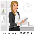business  woman holding  files... | Shutterstock .eps vector #1073223014