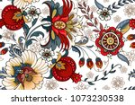 seamless pattern with folk... | Shutterstock .eps vector #1073230538