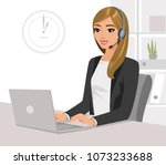 pretty girl operator with... | Shutterstock .eps vector #1073233688