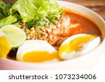 closeup spicy noodle in bowl....   Shutterstock . vector #1073234006
