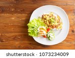 fried pork with rice and yellow ...   Shutterstock . vector #1073234009