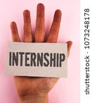 Small photo of Conceptual hand writing showing Internship. Business photo text Student or trainee who works in a company to obtain experience written on Cardboard Piece placed on the Hand on plain background.