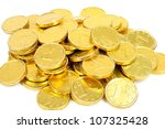 Gold Coins Of One Euro   On A...