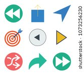 set of 9 arrows flat icons such ... | Shutterstock .eps vector #1073256230