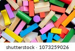 pile of building blocks in... | Shutterstock . vector #1073259026