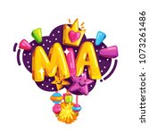 vector children's emblem of mia.... | Shutterstock .eps vector #1073261486