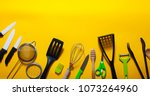 kitchen tools. background. | Shutterstock . vector #1073264960