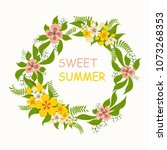 wreath with yellow and pink... | Shutterstock .eps vector #1073268353