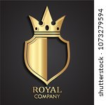 3d golden shield with crown... | Shutterstock .eps vector #1073279594