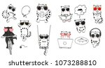 Stock vector a set of fashionable cats in glasses glasses fashion 1073288810