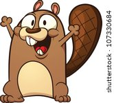 cute cartoon beaver. vector... | Shutterstock .eps vector #107330684