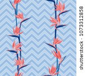 tropical flower bird of... | Shutterstock .eps vector #1073312858
