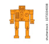 hand drawn cute robot. isolated ... | Shutterstock .eps vector #1073334038